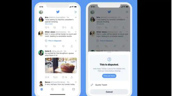 如果您将要共享的推文被标记为虚假信息 Twitter会警告您